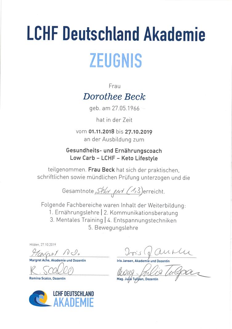 Zeugnis LCHF Deutschland Akademie