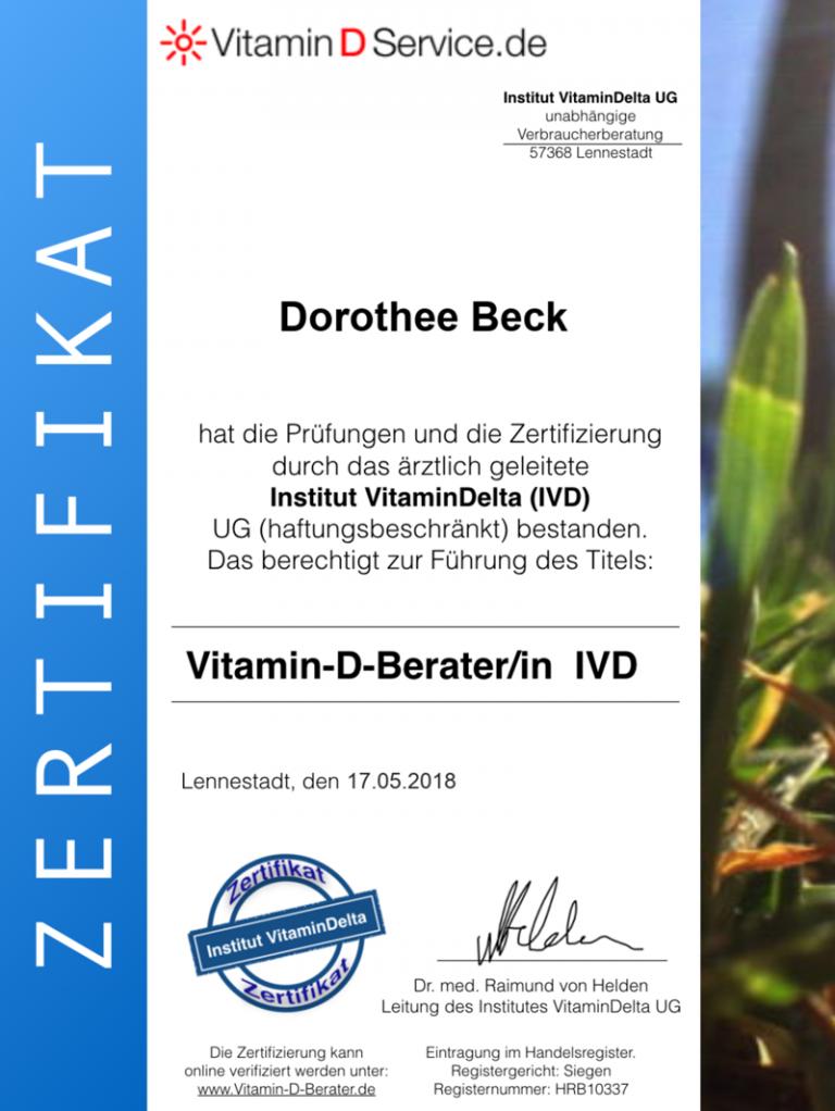 Zertifikat Vitamin-B-Beraterin